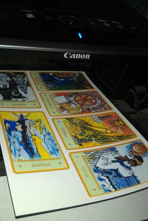 Распечатынные на принтере карты таро